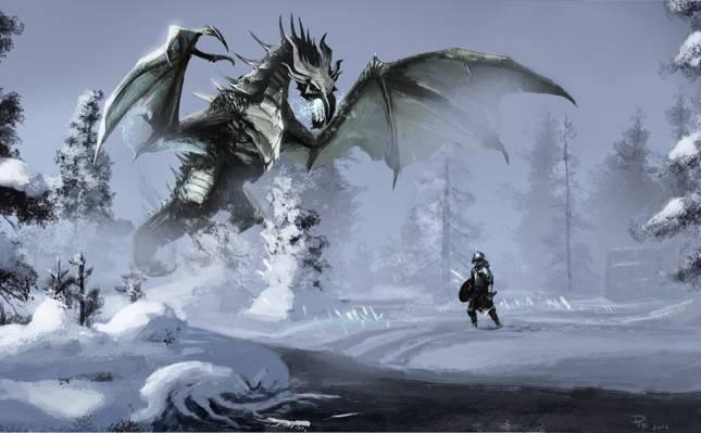 雪,艺术,冬天,魔术,战士,龙,河,天际,河,森林
