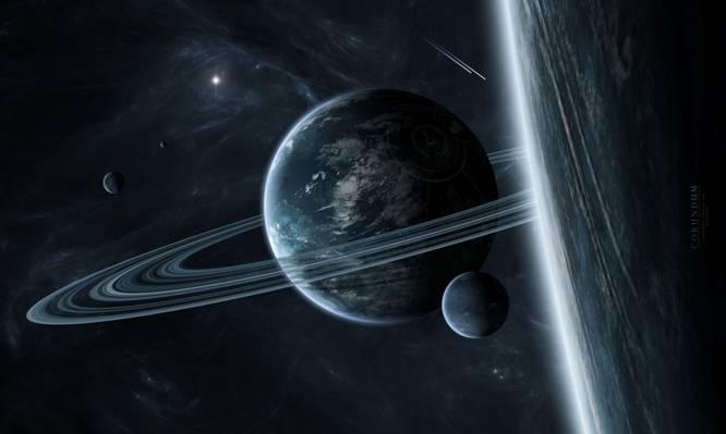 环,星际气体,星球,星系,卫星