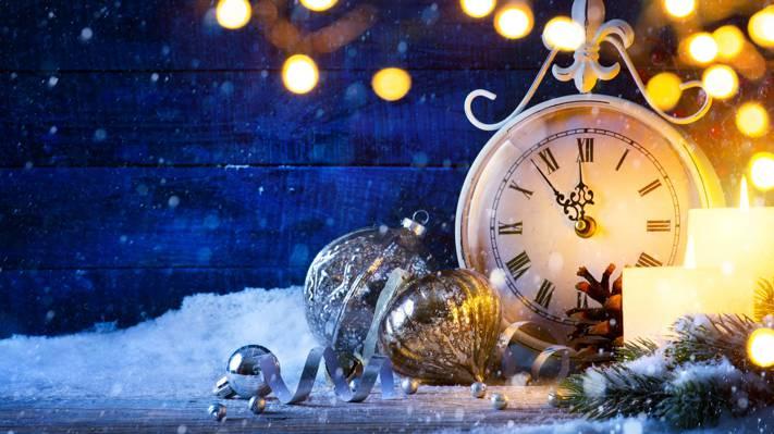 圣诞节,烟花,2017年,新的一年,快乐,手表,雪,新的一年