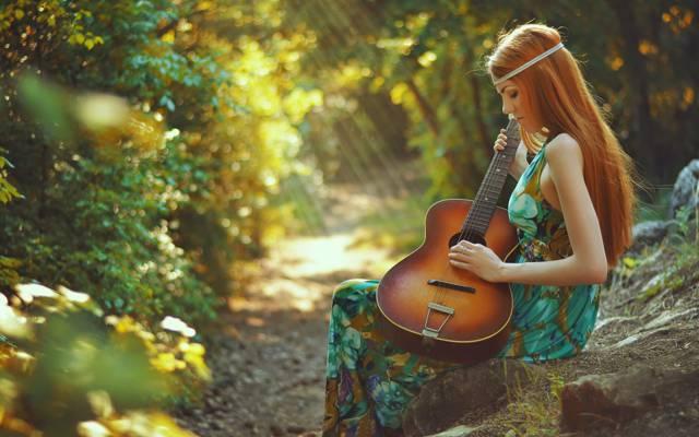 吉他,春天的歌,女孩,红发