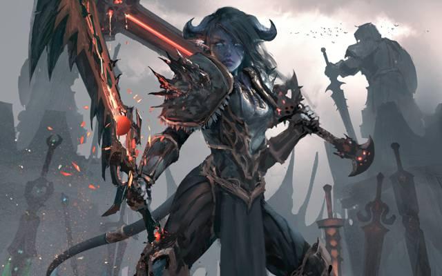 武器,艺术,魔兽世界,战士,装甲,狼,尾巴,女孩,剑,角