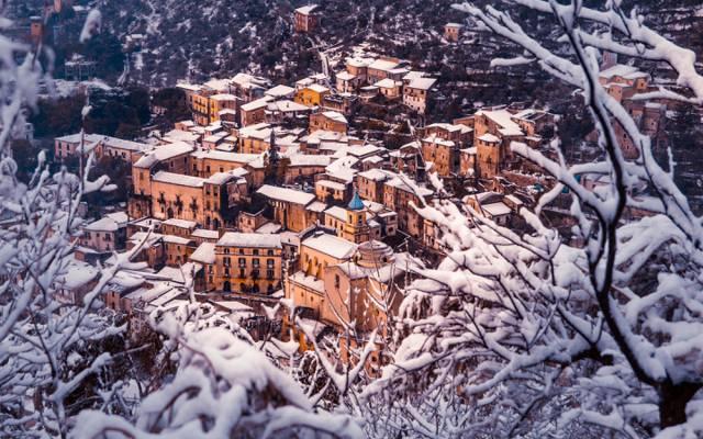 雪,全景,意大利,建筑,冬天,首页,雪,全景,冬天,卡塞尔塔,Piedimonte Matese,Piedimonte Matese,意大利,...