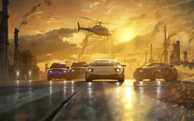 艺术,种族,道路,机器,管道,烟雾,最想通过,极品飞车,警察,直升机,追逐,日落