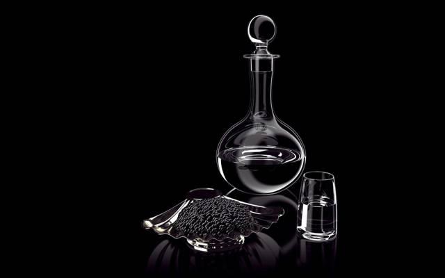 鱼子酱,滗水器,玻璃,静物