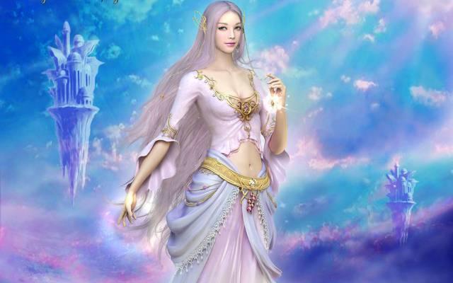美丽,黎明,飞行,女神,神泣,光明与黑暗,光与黑,天空,Etaine,指导...
