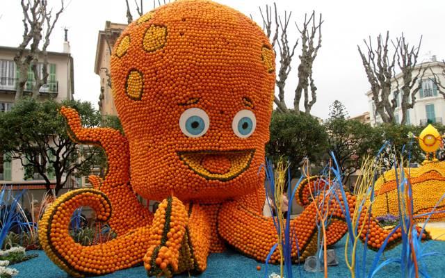 壁纸节,法国,组成,水果,柠檬,芒通,柠檬节,章鱼,橘子,设计