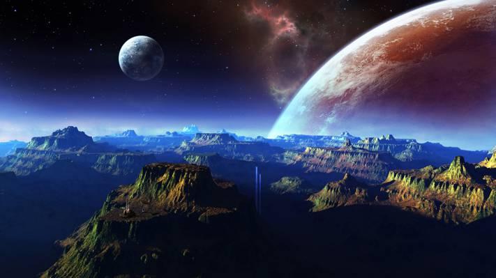 行星,空间,山