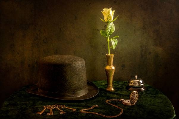 帽子,电话,静物,手表,钥匙,花卉