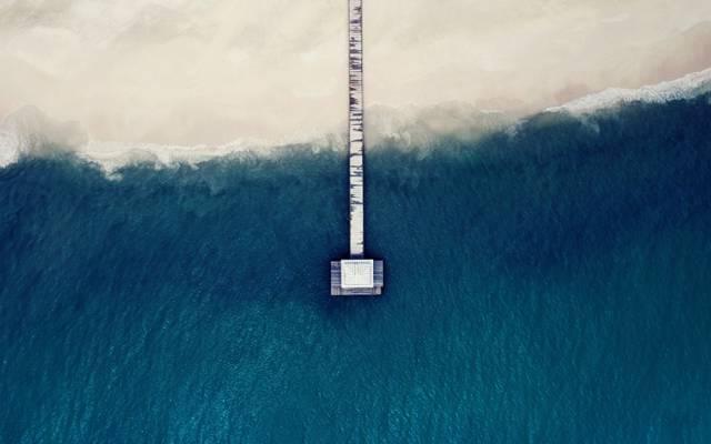 波,海,屋顶,沙滩,岸边,皮尔斯,桥,从顶部的看法