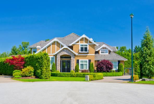 壁纸天空,草坪,树木,灌木,豪宅,房子,绿色,蓝色,太阳,灯笼,草,设计