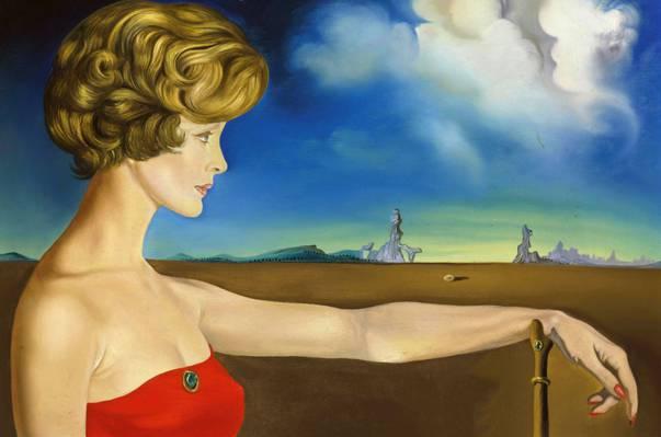 一个年轻女子在风景画像,图片,萨尔瓦多·达利,萨尔瓦多·达利,超现实主义