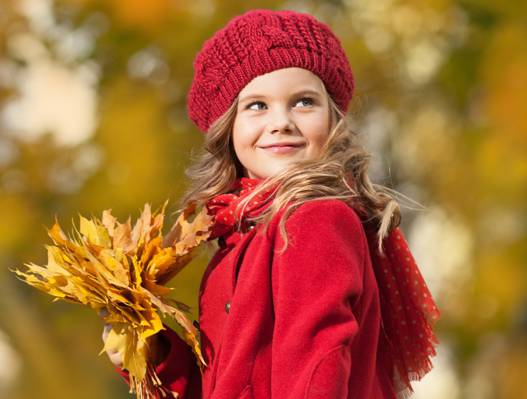 女孩,看,帽,外套,金发,微笑,叶子,秋天