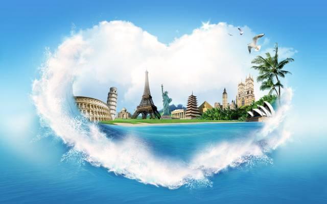 棕榈树,创意,埃菲尔铁塔,心,金字塔,岸,喷,海,斗兽场,水,雕像...