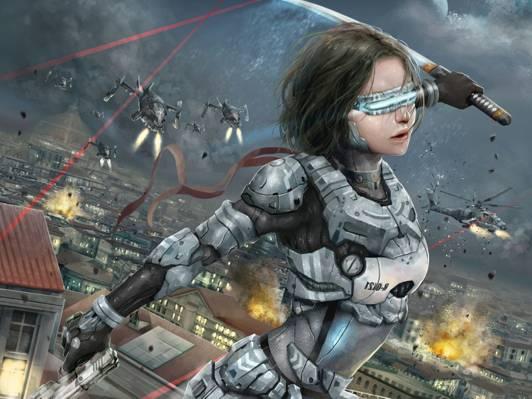 战争,武士刀,船舶,未来,女孩