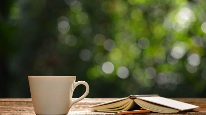 壁纸咖啡杯,心,早上好,热,浪漫,书,咖啡,杯,早上