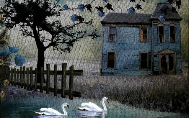 风格,天鹅,房子,背景