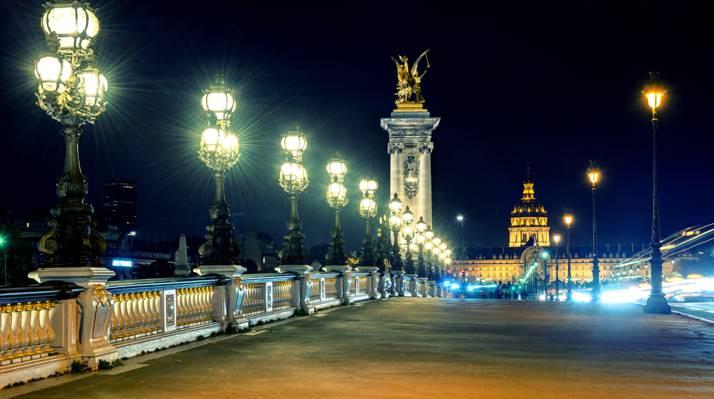 光,法国,法国,照明,建筑,巴黎,人,城市,巴黎,晚上,灯,建筑,亚历山大桥...
