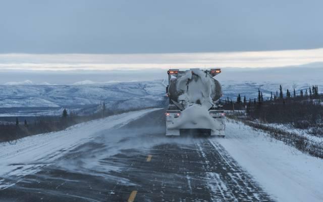 卡车,路,雪,冬天