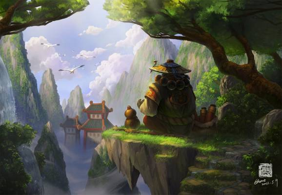 帽子,熊猫人之谜,亚洲,艺术,树木,熊猫,魔兽世界,寺庙,鸟,舞台,岩石,...