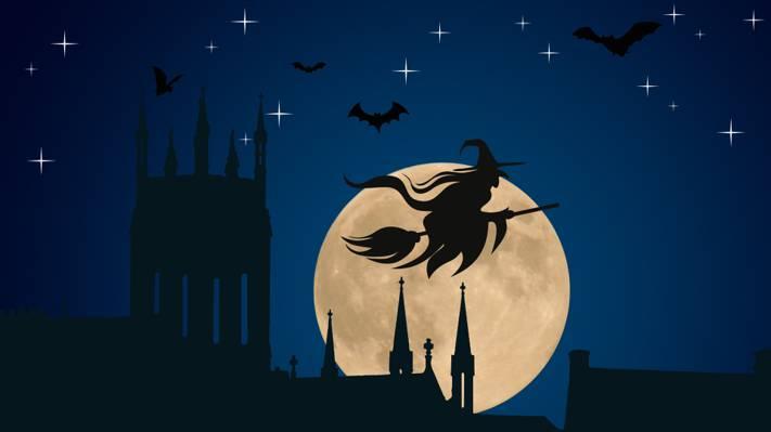 星星,节日,蝙蝠,尖顶,矢量,剪影,教堂,帽子,矢量艺术,万圣节,月亮,夜,鬼,飞行...