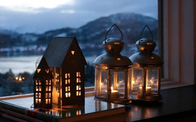 晚上,蜡烛,窗户,心情,灯,城市
