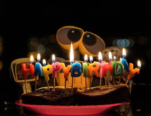 生日,祝贺,生日快乐,山谷,馅饼,机器人,墙-e