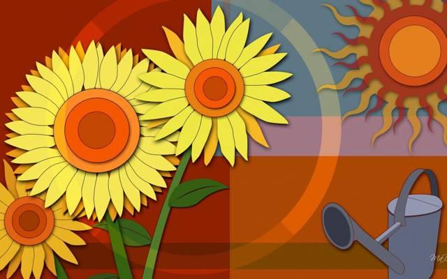 鲜花,湖,矢量,拼贴画,太阳