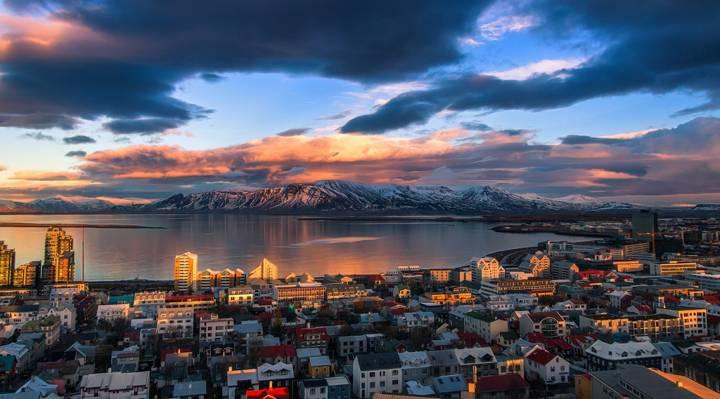 这个城市,峡湾,冰岛,山脉,光线,雷克雅未克