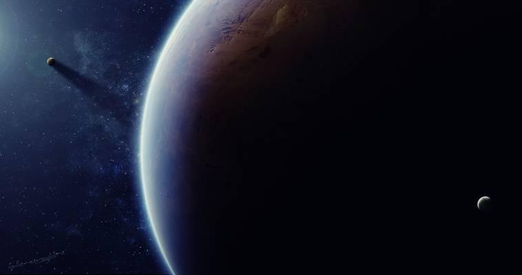 卫星,光,艺术,阴影,星球,星星,空间