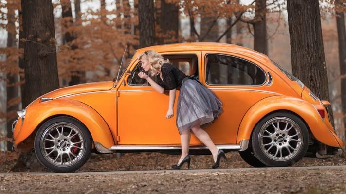 壁纸的姿势,女孩,甲虫,金发,汽车,大众汽车,秋天
