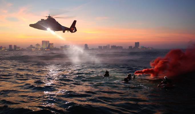 海,水,海岸警卫队,武装部队,直升机