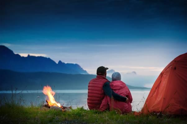 雾,双,帐篷,湖,晚上,黄昏,火,草,火