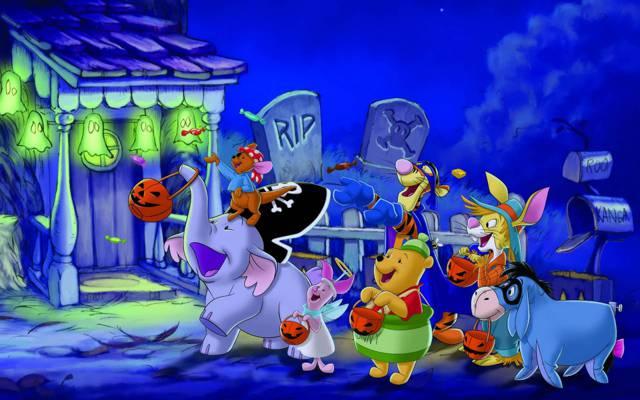 糖果,万圣节,小熊维尼,灯,万圣节,房子,夜晚,欢乐,朋友