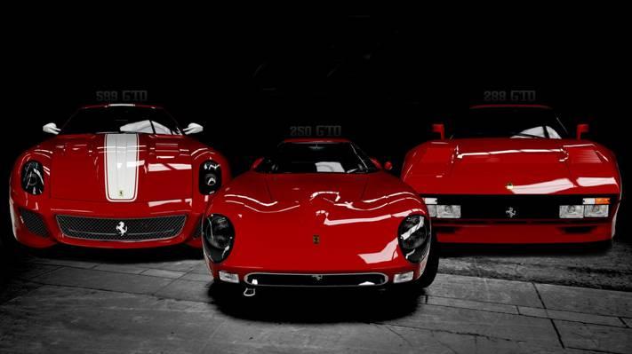 三重,模型,法拉利,黑色和白色,意大利,汽车