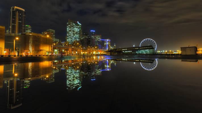灯,夜晚的城市,晚上,西雅图,西雅图