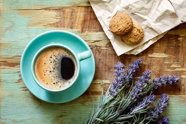 壁纸碟,杯,纸,饼干,咖啡,薰衣草