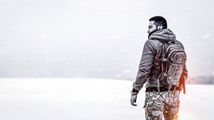 军事,天气,孤独,暴雪,战士,自然,雪,火焰,草原,场,一,男,火花,背包,...