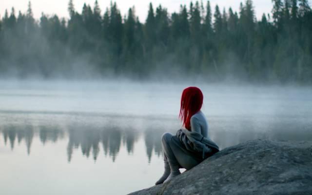 雾,湖,女孩