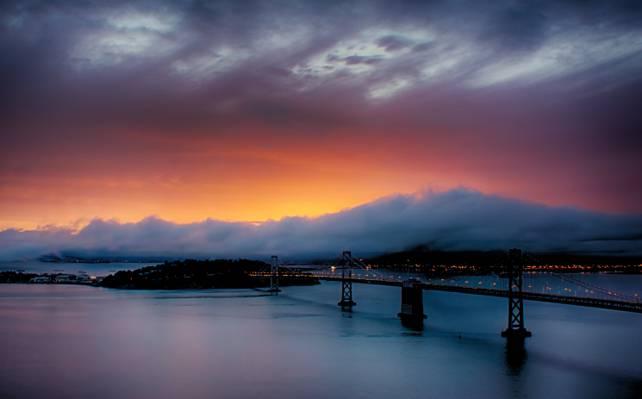 旧金山金门大桥黄昏高清壁纸