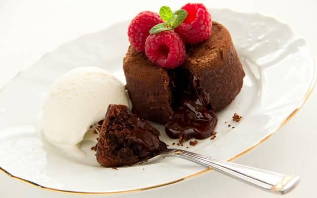 浆果,覆盆子,巧克力软糖,冰淇淋,甜点