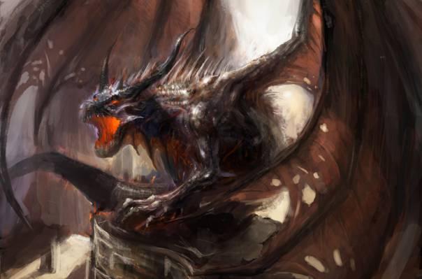 龙,小说,翅膀,艺术,嘴,角