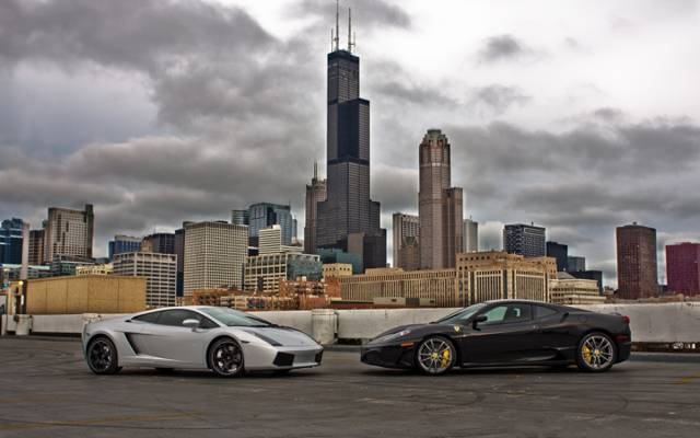 F430,云,法拉利,兰博基尼,gallardo,芝加哥,法拉利,兰博基尼,摩天大楼,芝加哥,黑色,黑色,天空,银,...  -