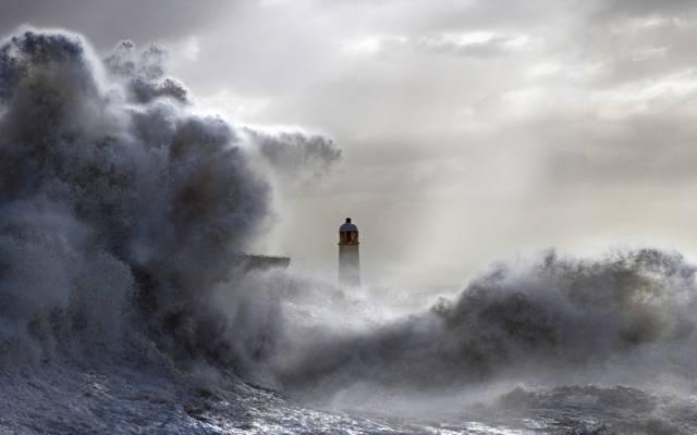 灯塔,海,波,景观