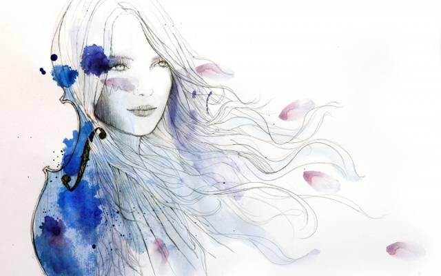 墨水,图,女孩,艺术,小提琴,油漆,头发