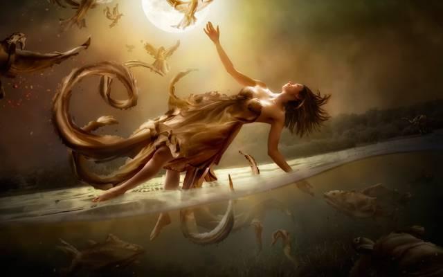 月亮,水,女孩,飞行,艺术,多样性,幻想