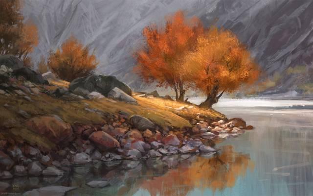 山,艺术,树,岸,坐,人,湖,秋天,一,孤独,河,石头