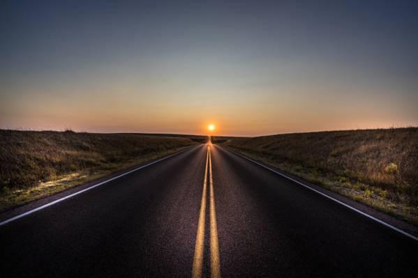 壁纸太阳,路,日落