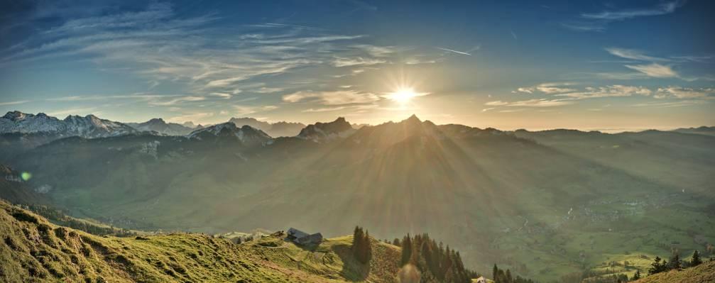 日出的风景照片山山,stockberg高清壁纸