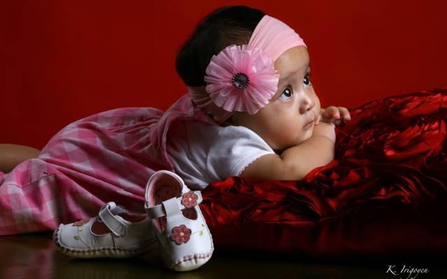 女孩,孩子,弓,鞋,婴儿,枕头,头带