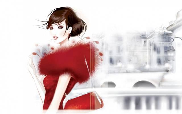 红色,手袋,城市,女孩,灯笼